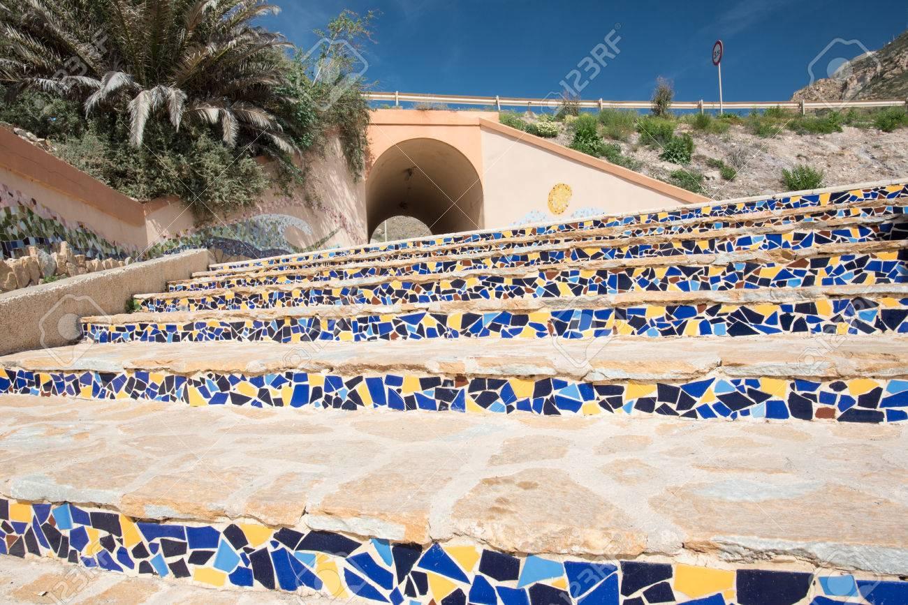 Mediterranean Mosaic Stairs Stock Photo   39379830