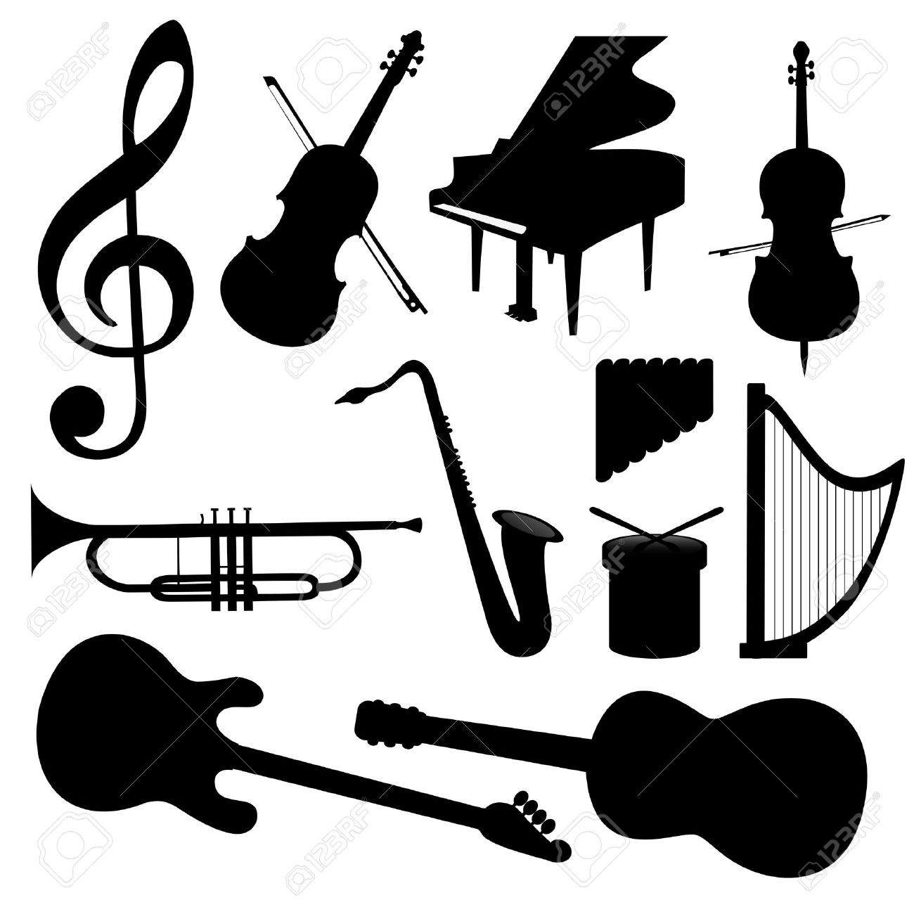 Music Instruments silhouette - Vector Stock Vector - 531567