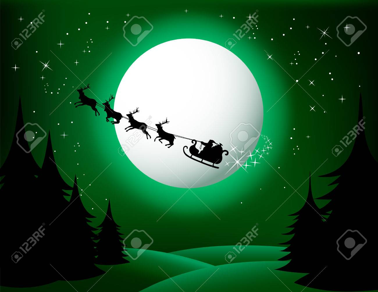 Santa`s sleigh - vector (green version) Check Out My Portfolio For Similar Illustrations... Stock Vector - 5676467