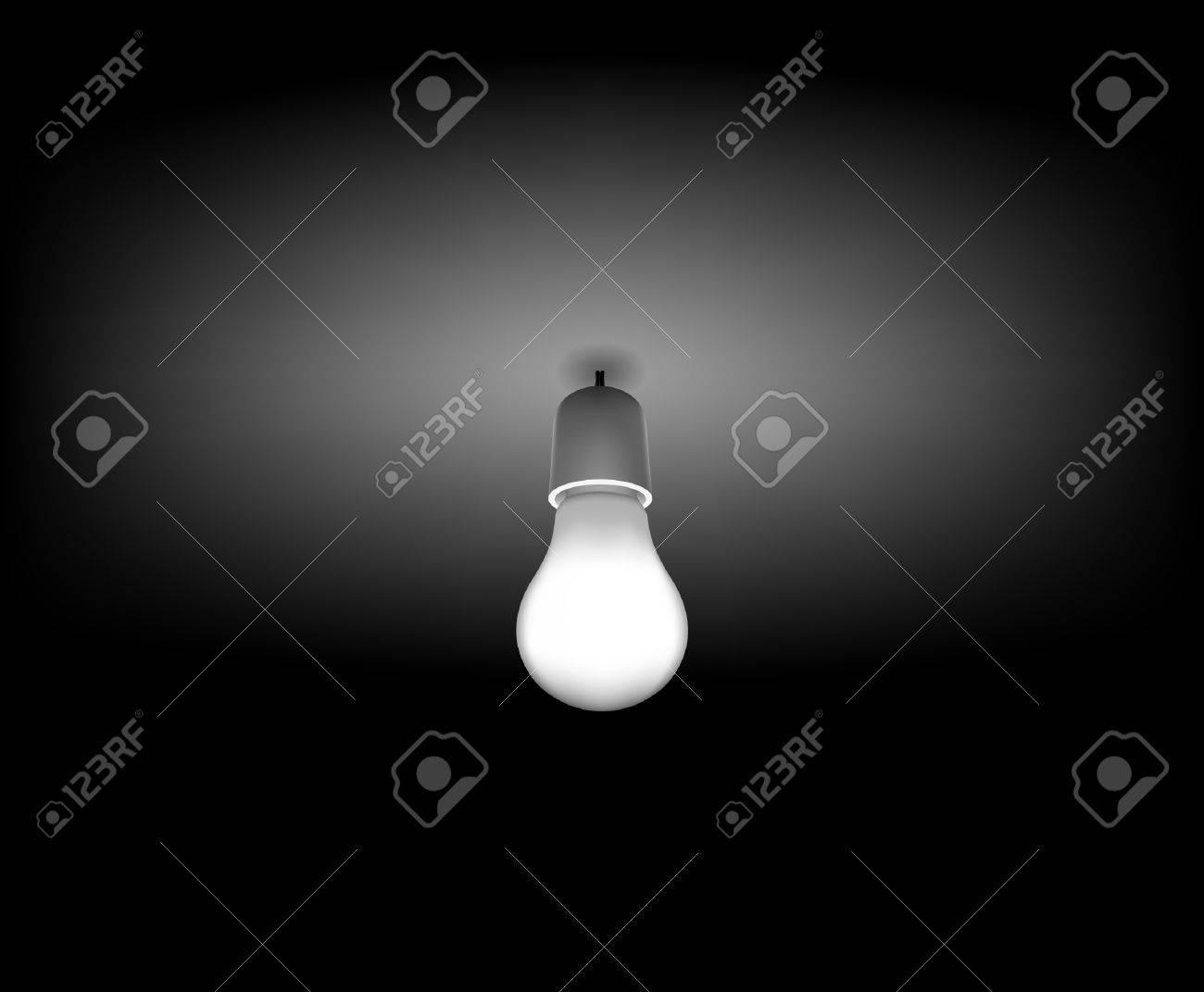 Dark room with light bulb - Vector Classic Light Bulb On The Dark Room