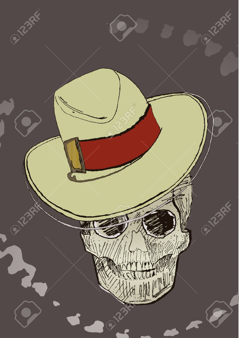 Ink drawing halloween skull. Hat on a separate layer, you can easy remove it and get a whole skull. Stock Vector - 5696023