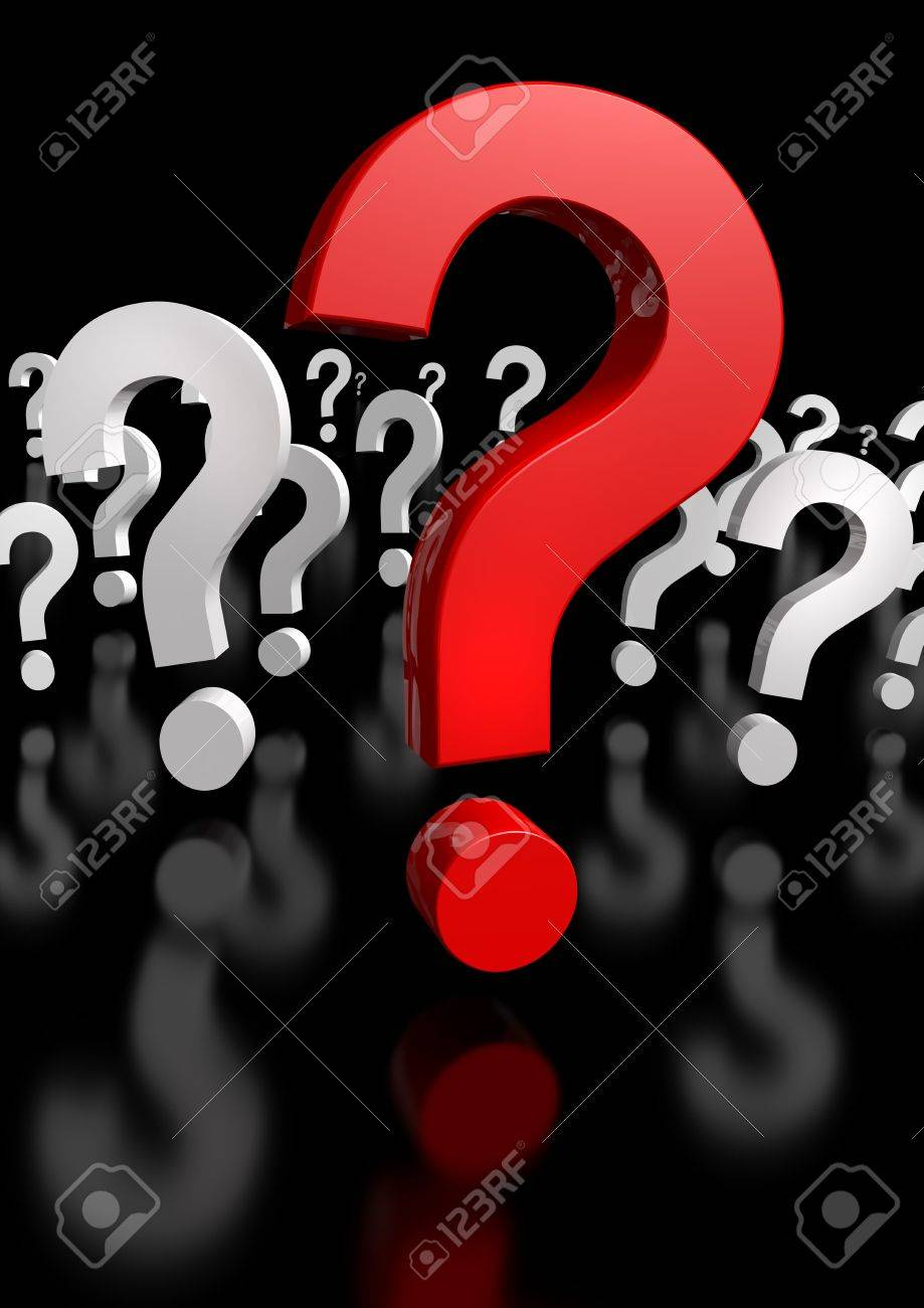 Too Many Questions, only one red! 3d rendering! hi res Stock Photo - 3947786