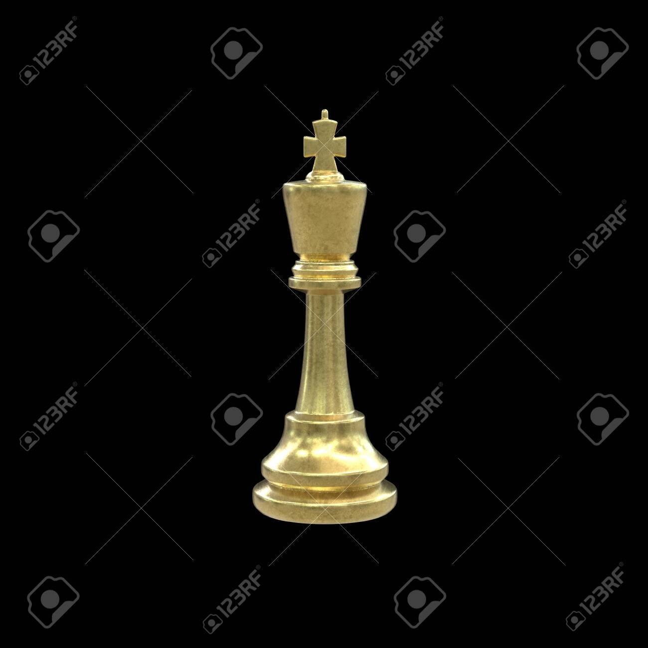 3d illustration of gold chess king isolated on black background. Minimalist render of strategy game piece with golden texture. - 152391951
