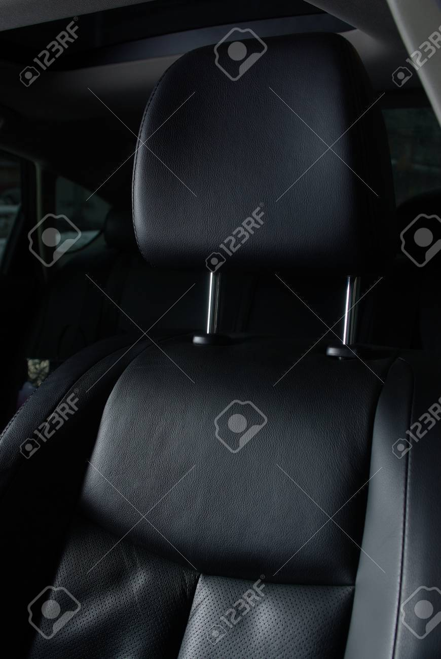 Black leather seat in a car Stock Photo - 12002645