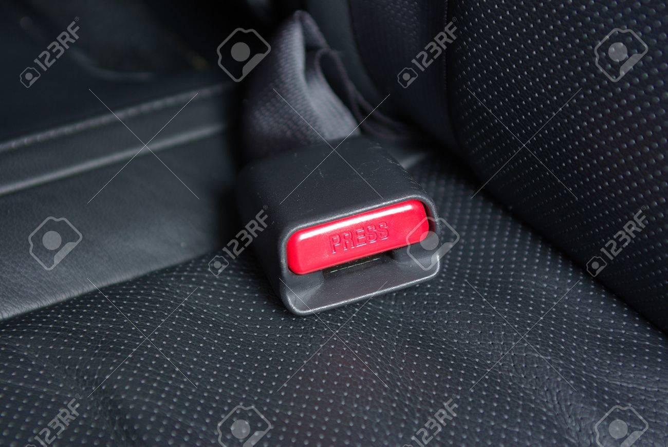 Seatbelt Buckle On A Car Seat Stock Photo