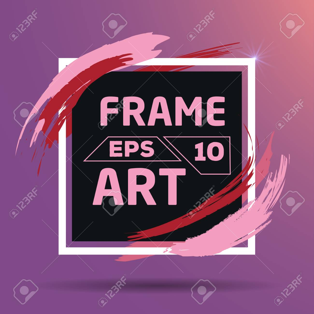 Square With Color Red And Pink Brush Frame Art Background Flat Royalty Free Cliparts Vectors And Stock Illustration Image 76859174