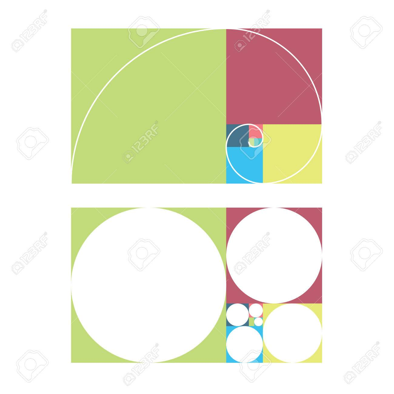 golden ratio template vector illustration fibonacci royalty free
