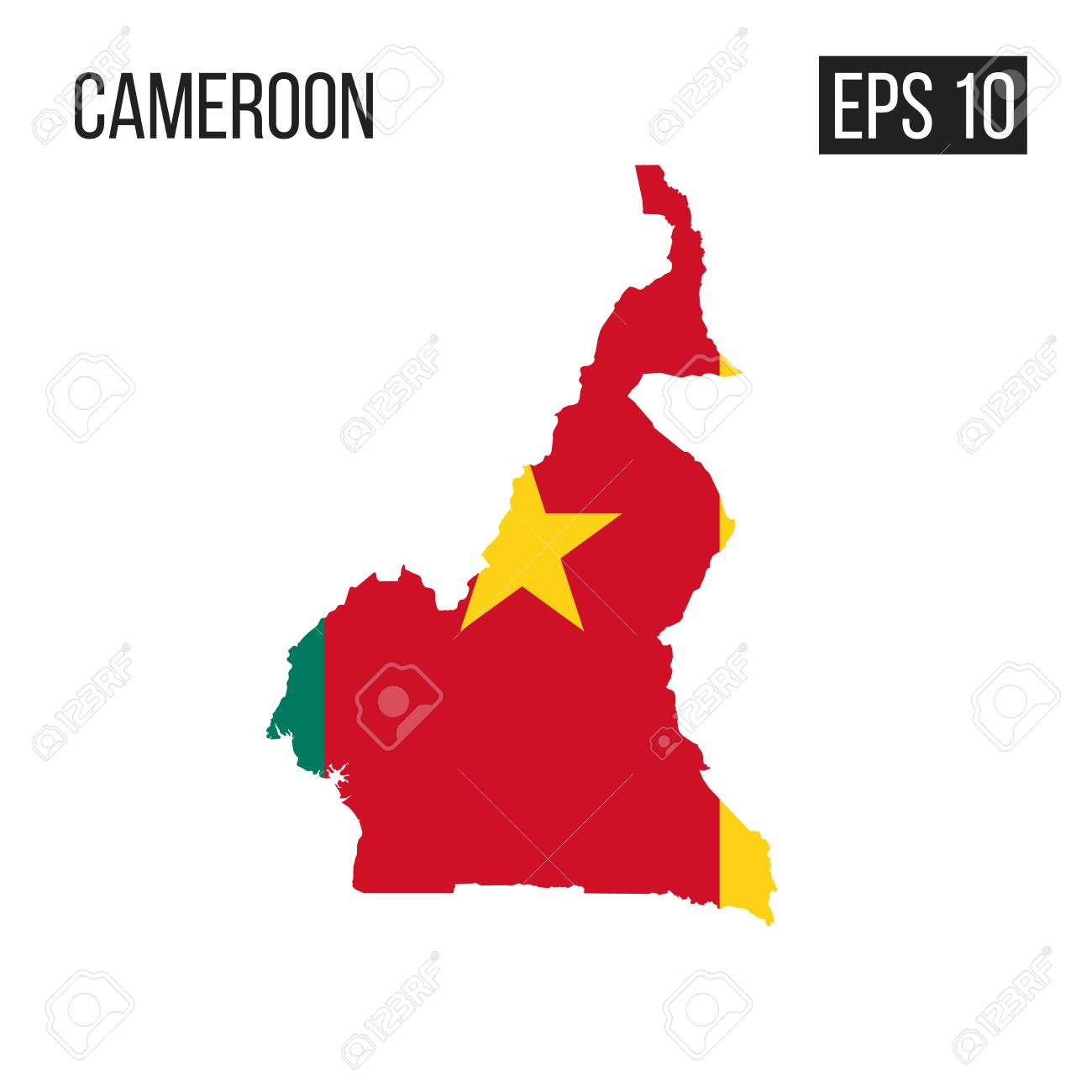 Cameroon Map Border With Flag Vector EPS10 Royalty Free Cliparts