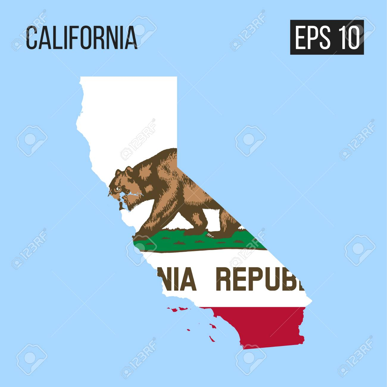California Map Border With Flag Vector EPS10 Royalty Free Cliparts