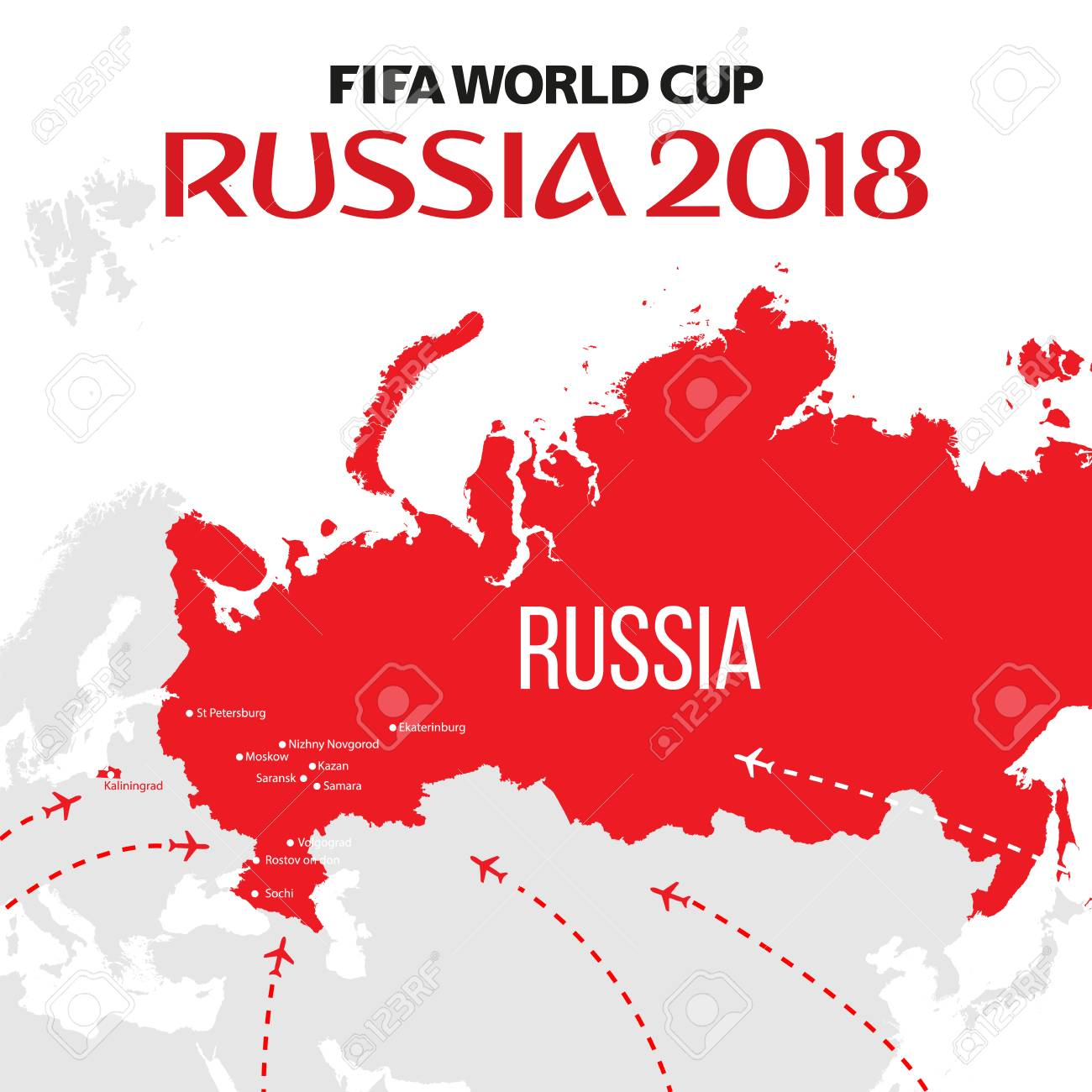 Russia world cup 2018 vector illustration with map and cities russia world cup 2018 vector illustration with map and cities of championship stock vector 96519210 gumiabroncs Gallery