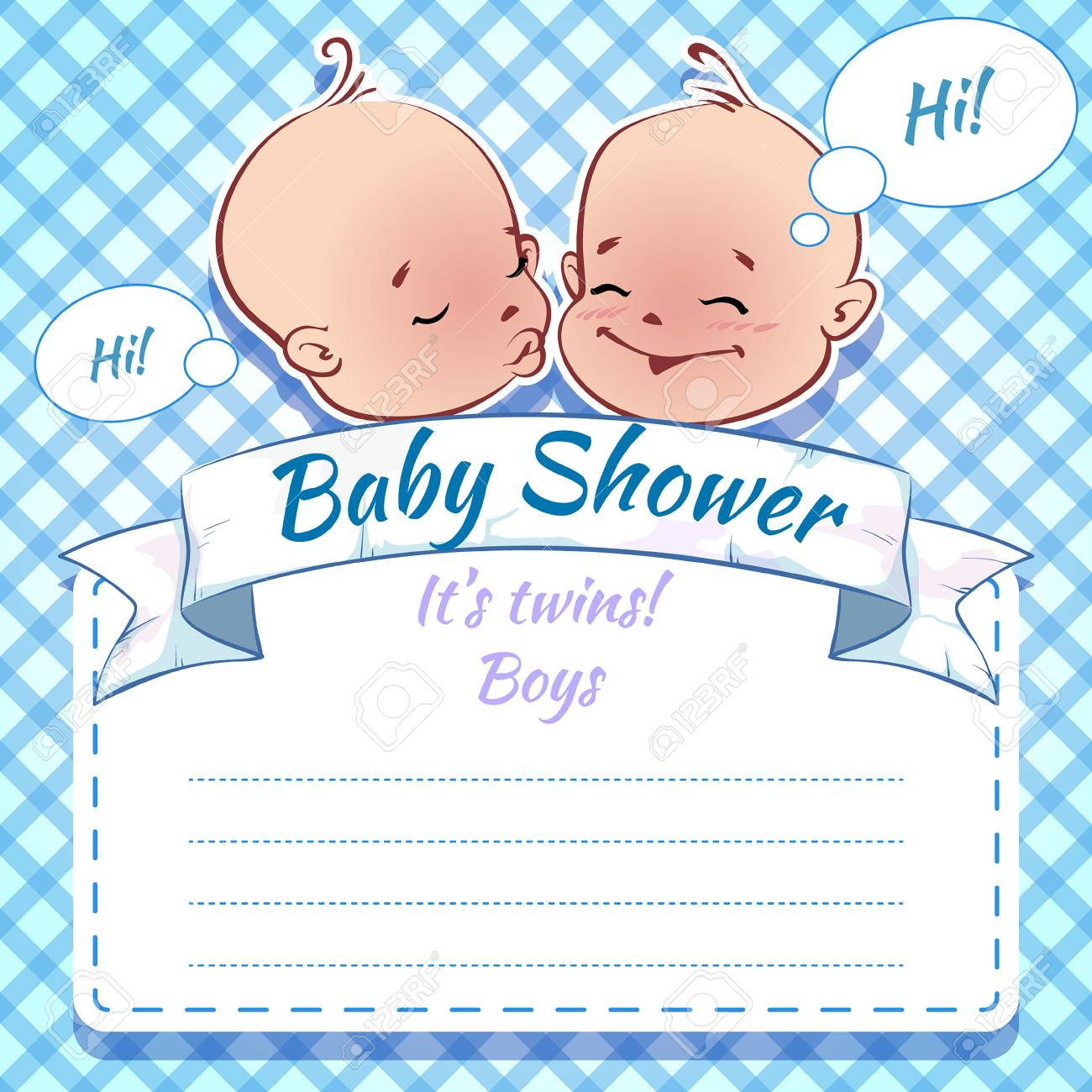 Twins Baby Shower Boys Royalty Free Cliparts Vectors And Stock Illustration Image 32092860