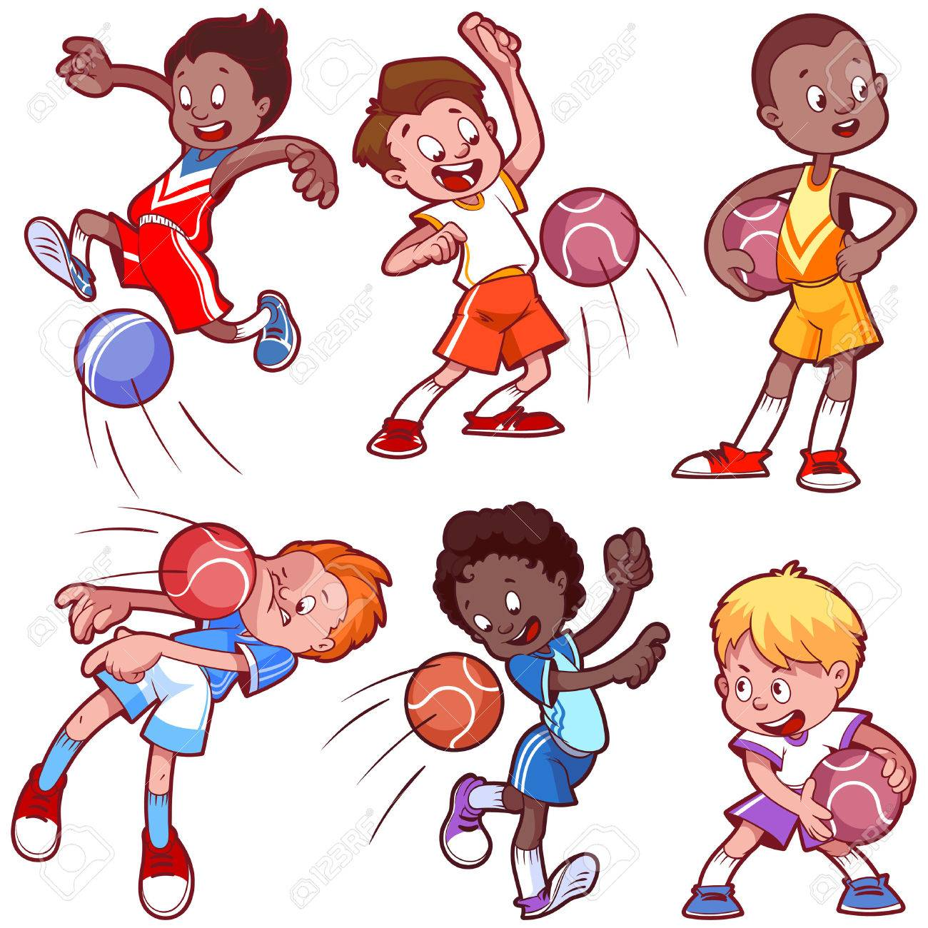 cartoon kids playing dodgeball vector clip art illustration rh 123rf com
