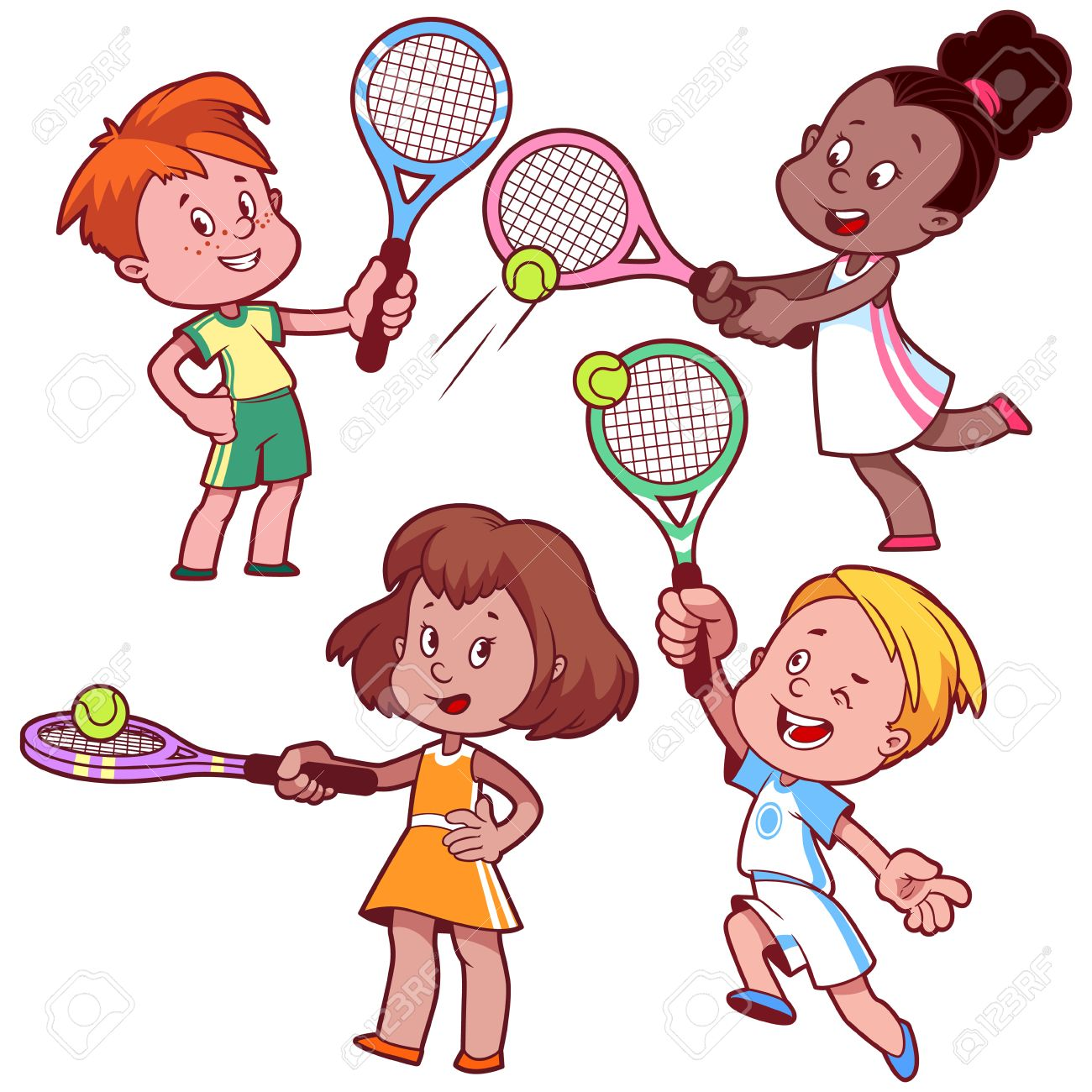 cartoon kids playing tennis vector clip art illustration on rh 123rf com