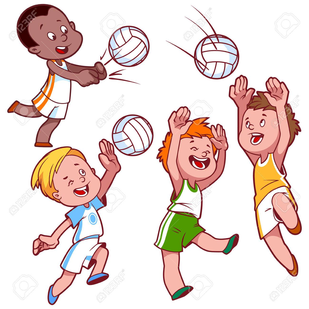 cartoon kids playing volleyball vector clip art illustration rh 123rf com free kid clipart for teachers free kids clip art printables