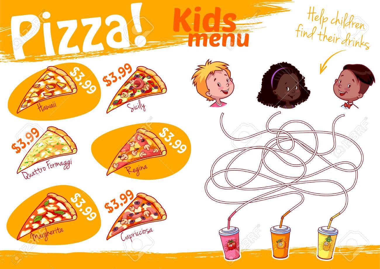 子供のメニューのピッツァ迷路ゲームベクトル イラスト A4 サイズ