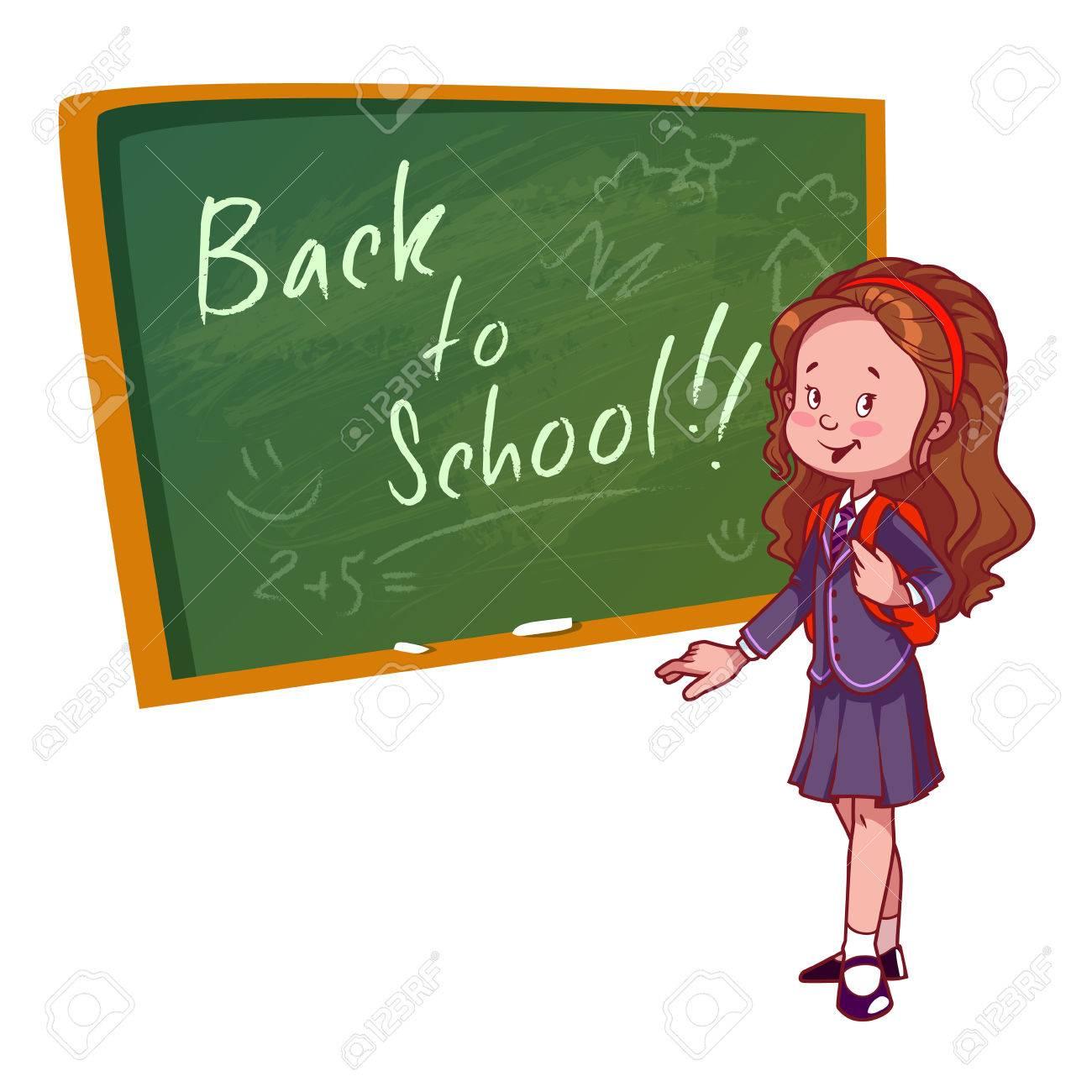 かわいい女子高生制服姿でたたずむ教育委員会に近い白の背景にベクトル イラスト学校に戻る