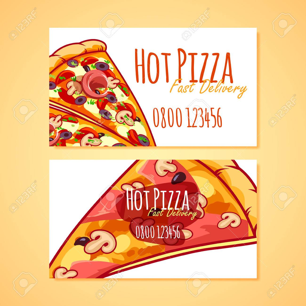 Two business card template for pizza delivery or pizzerias vector two business card template for pizza delivery or pizzerias vector clip art illustration stock vector reheart Images