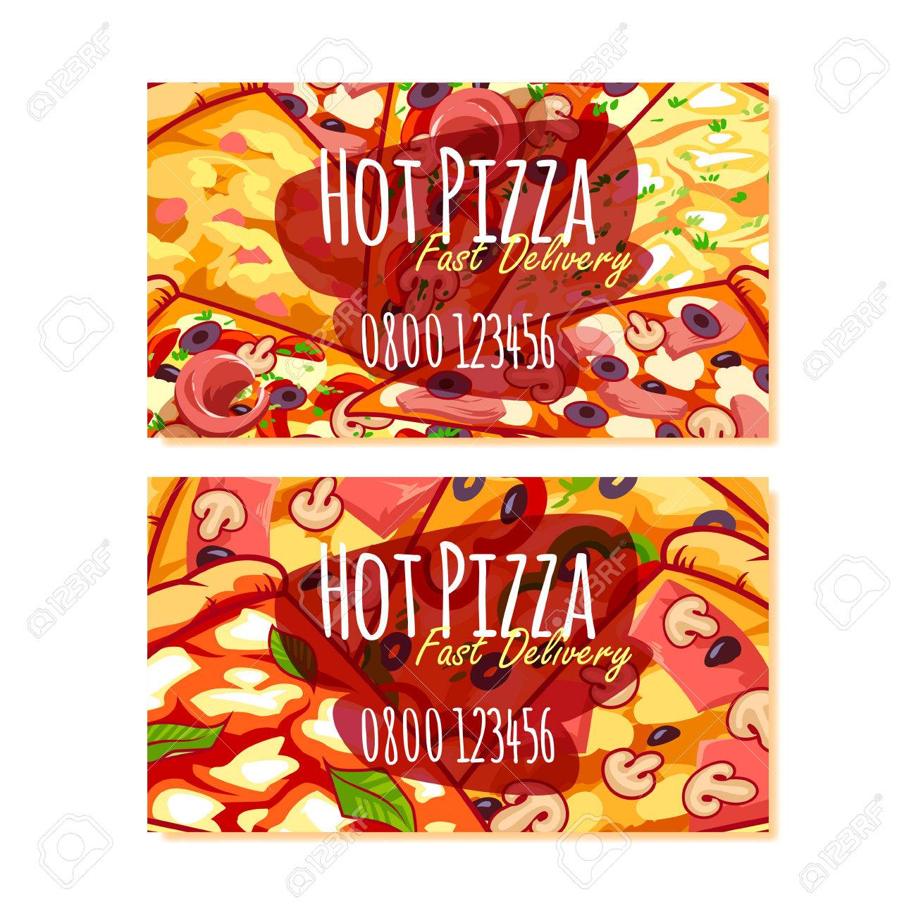 Two Business Card Template For Pizza Delivery Or Pizzerias. Vector ...