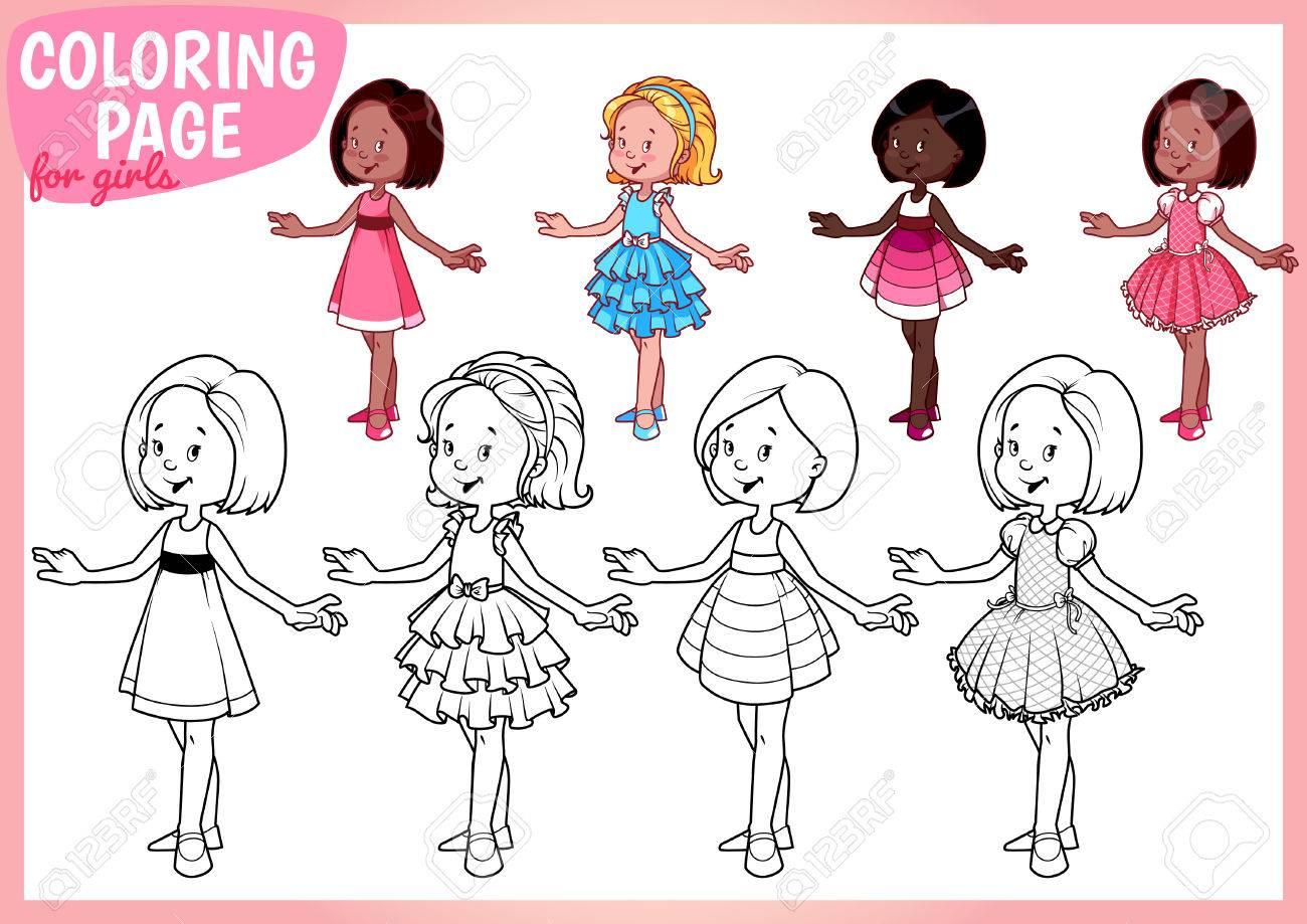 Dibujo Para Colorear Para Chicas Cuatro Mujeres Jóvenes Hermosas En Vestidos Ilustración Vectorial Sobre Fondo Blanco Tamaño A4