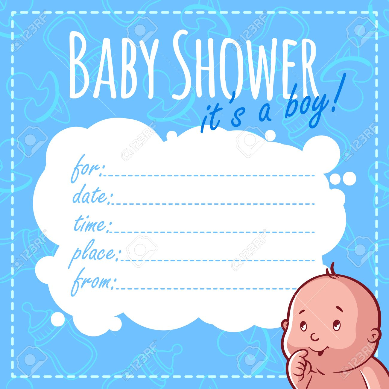 Baby Shower Card It S A Boy Blank Baby Shower Invitations For