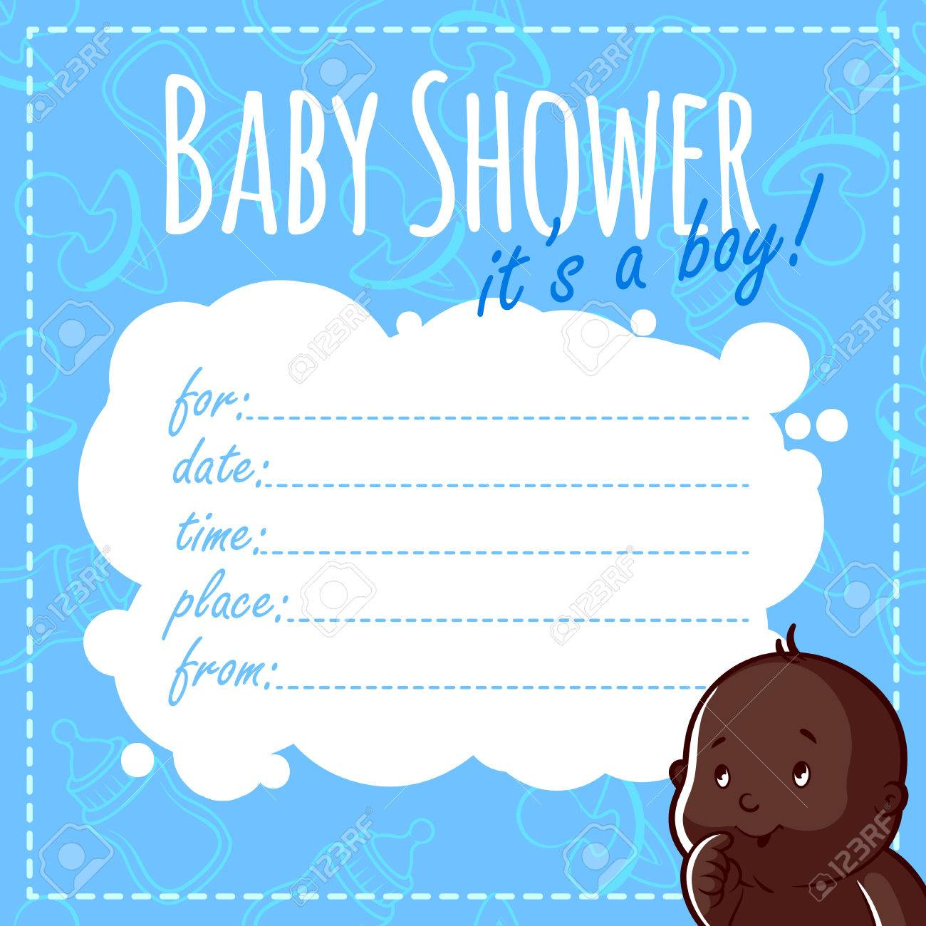 Baby Shower Card: It\'s A Boy! Blank Baby Shower Invitations For ...
