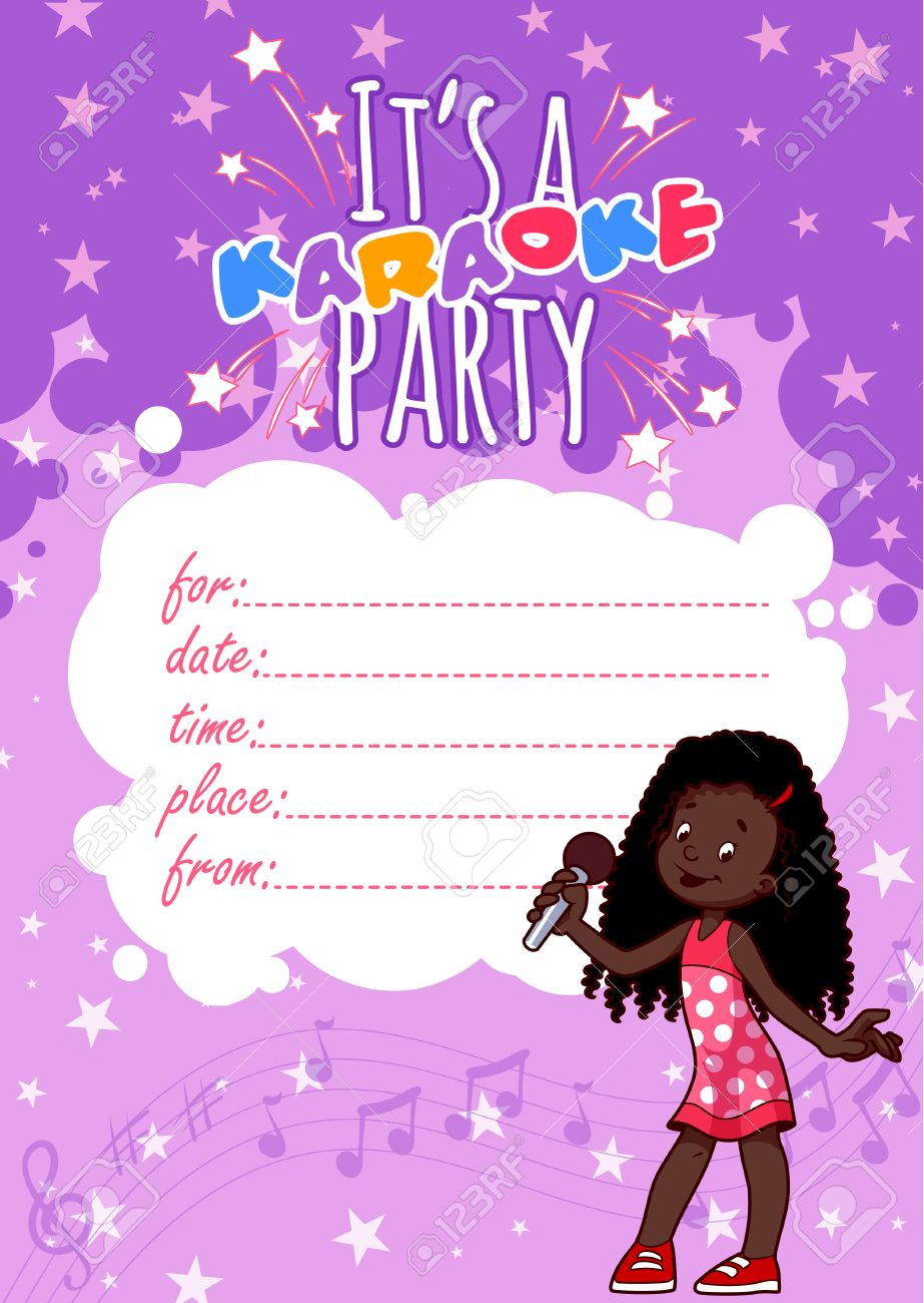 Invitation To A Children\'s Karaoke Party In Violet Colors. Vector ...
