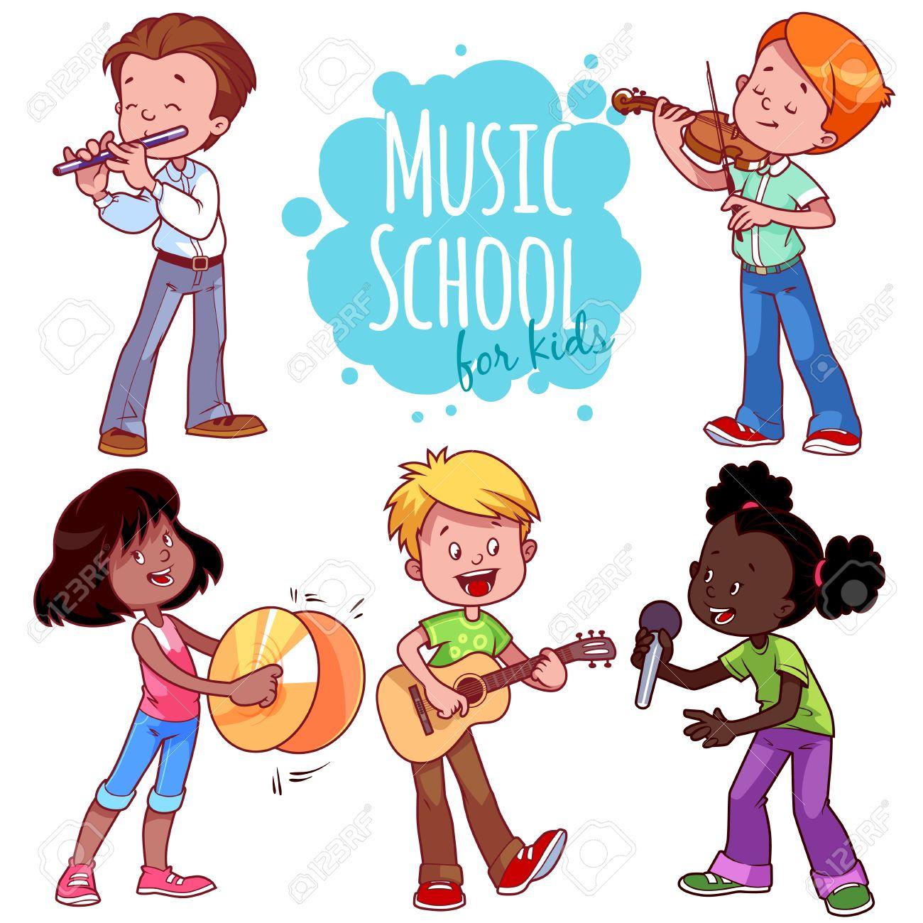 漫画子供たちは楽器を演奏し、歌います。白の背景にベクトル クリップ