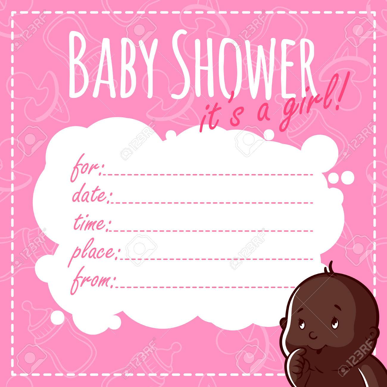 5025cc457 Foto de archivo - Tarjeta de Baby Shower: Es una niña! Blanco invitaciones  de la ducha de bebé para la muchacha en tonos rosados
