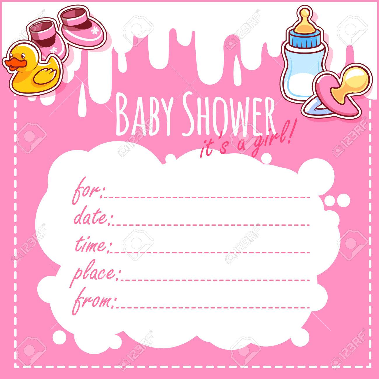 Baby Shower Card: Itu0027s A Girl! Blank Baby Shower Invitations For Girl In  Pink