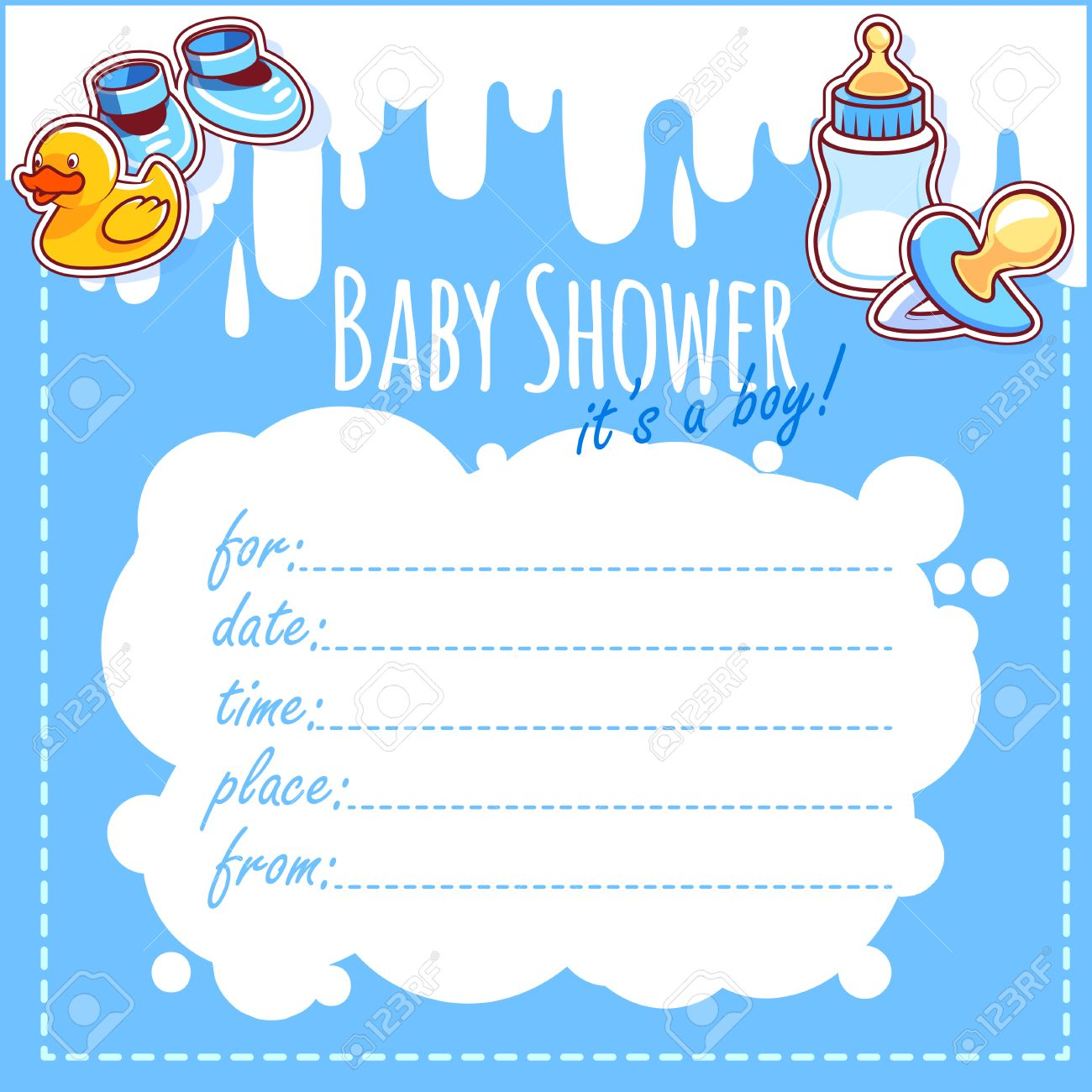 Baby Shower Card Its A Boy Blank Baby Shower Invitations For