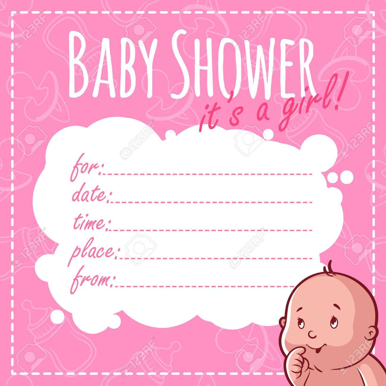 Tarjeta De Baby Shower Es Una Niña Blanco Invitaciones De La Ducha De Bebé Para La Muchacha En Tonos Rosados