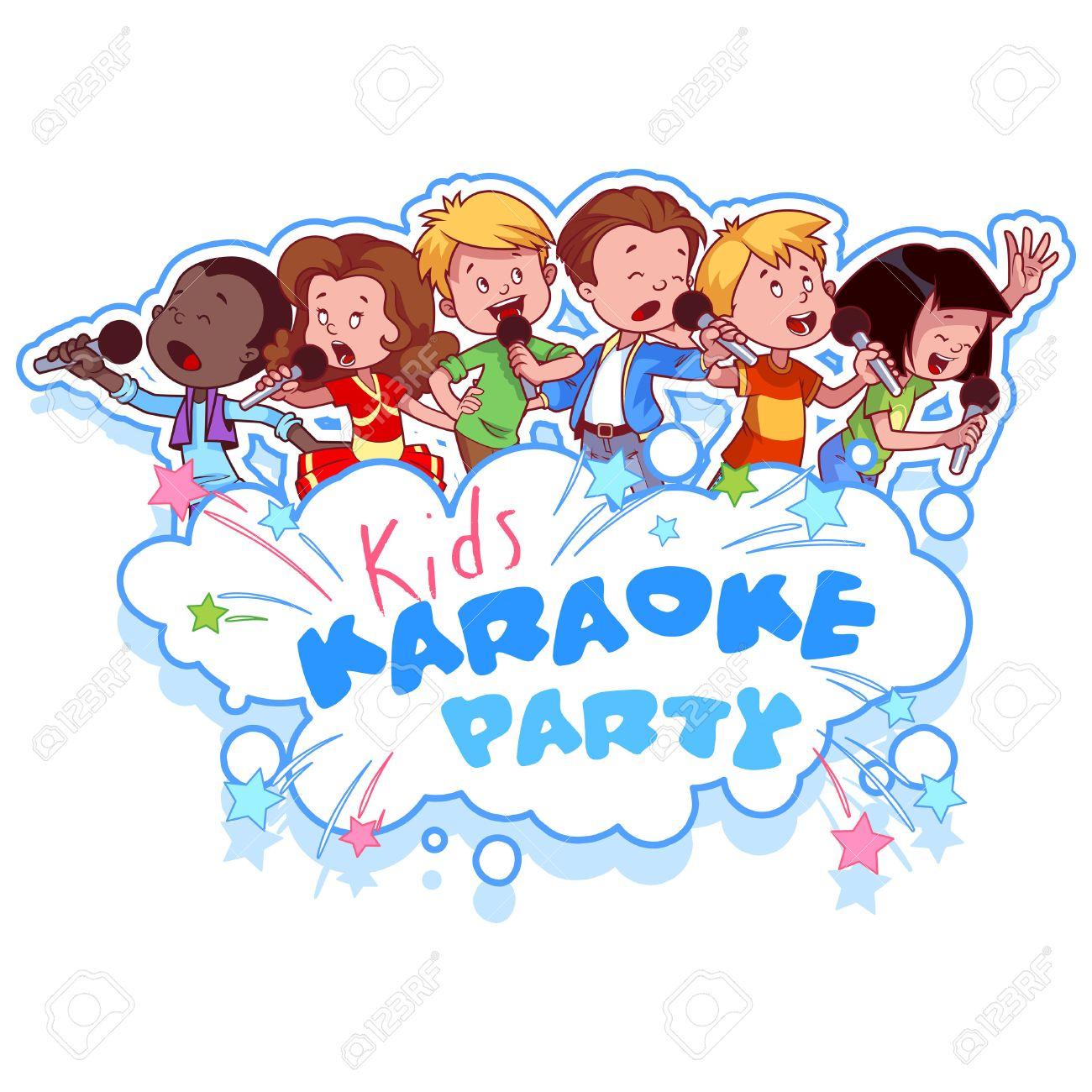 漫画の子供たちは、マイクを使って歌います。子供たちのカラオケ