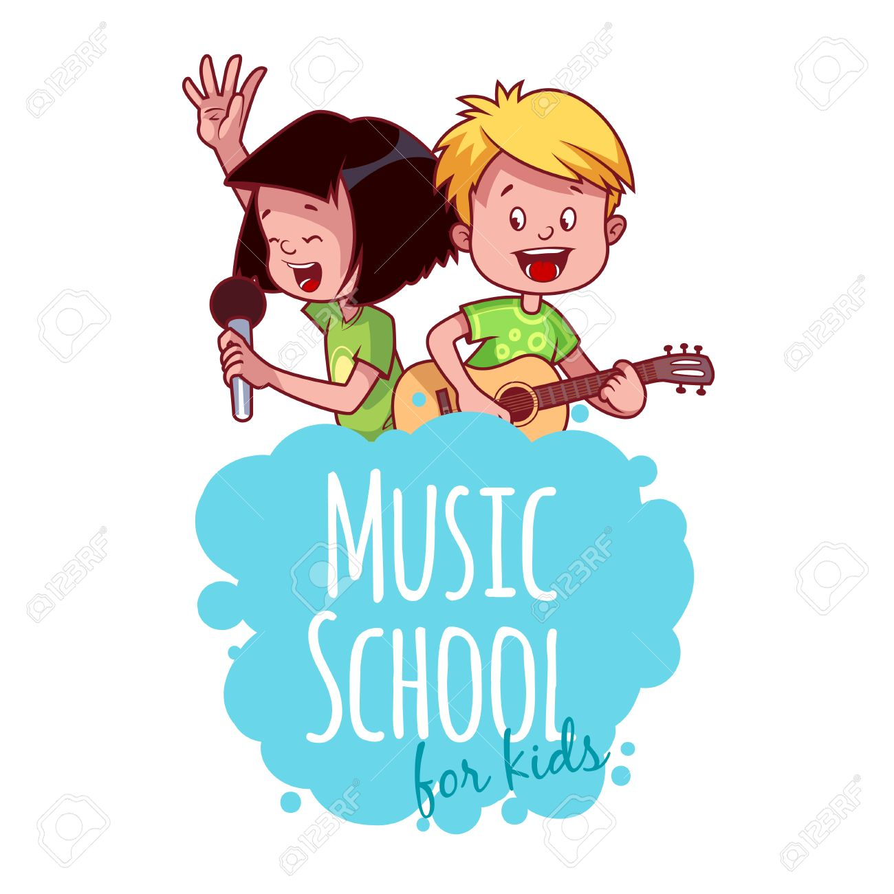 logo template for music school with two children vector clip rh 123rf com