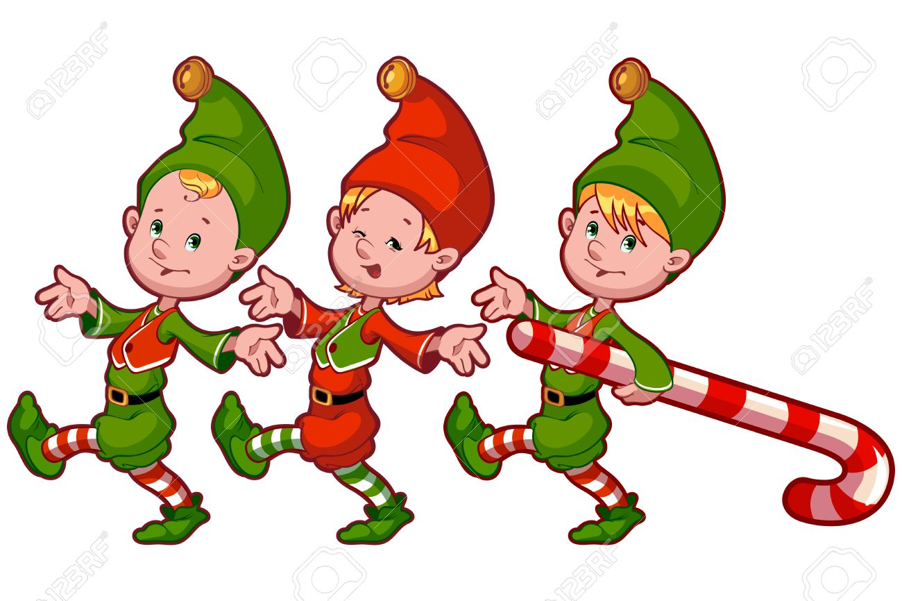 Christmas Elves With Candy. Vector Clip-art Illustration On A ...