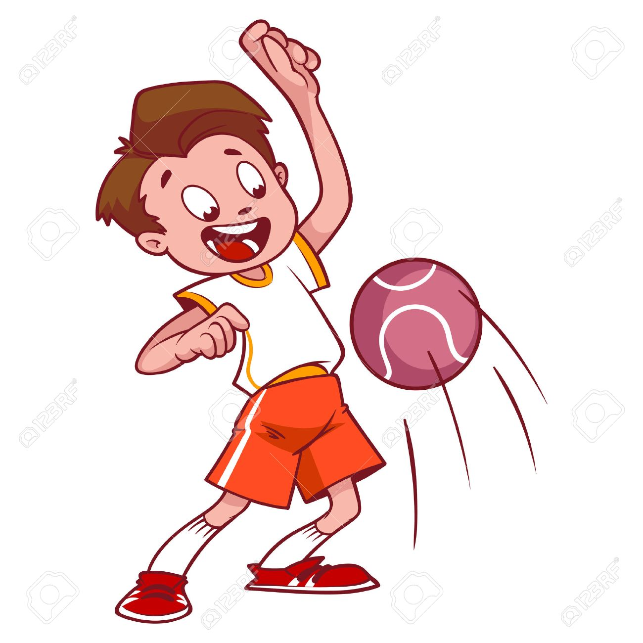 cheerful child playing in dodgeball. cartoon vector illustration