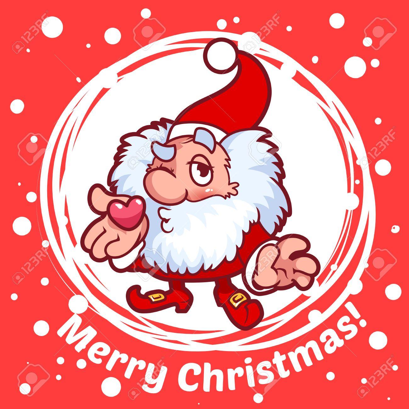 Karte Mit Weihnachts-Elf In Einem Kreis. Weihnachten Gnome Bläst ...