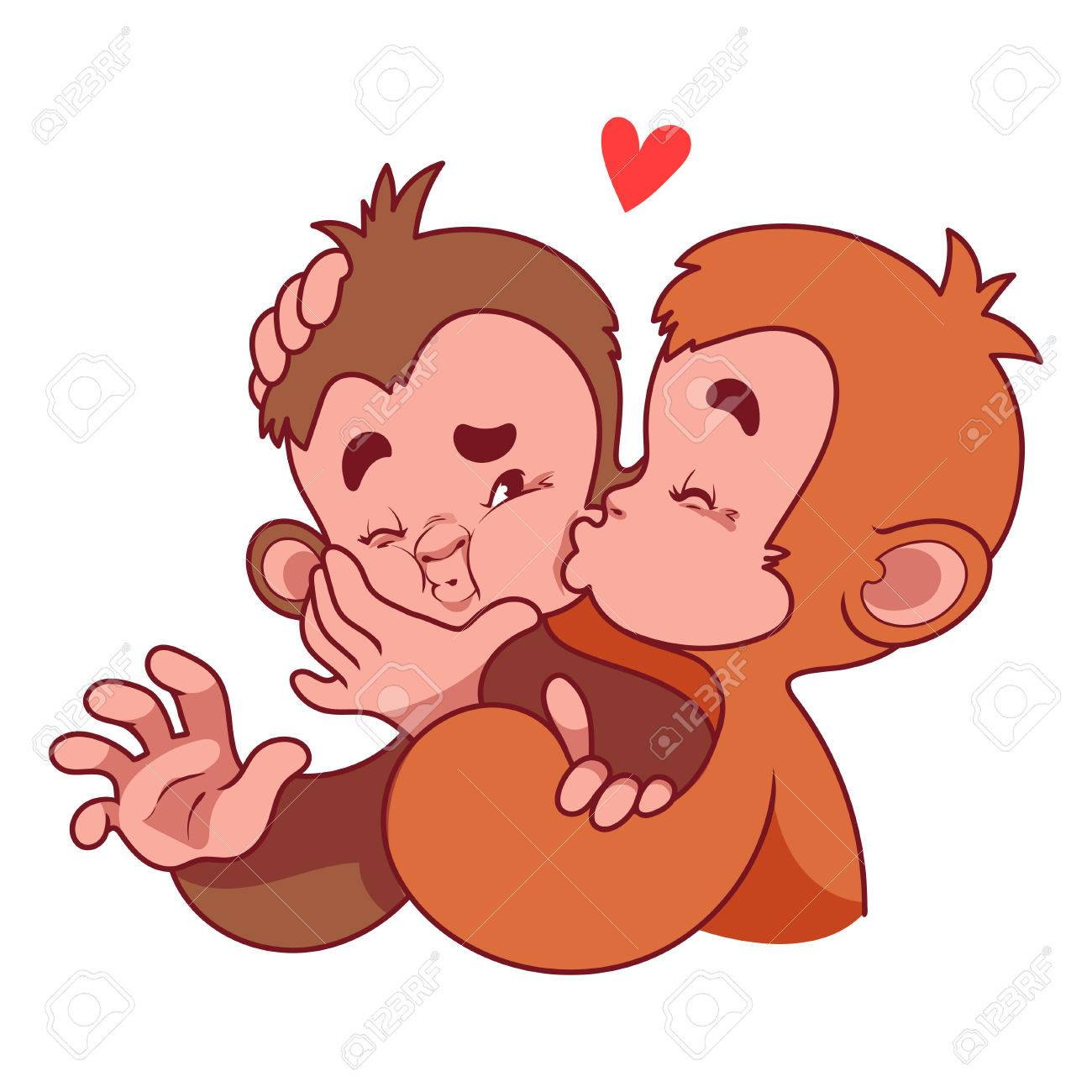 Two Monkeys Kissing Symbol Of 2016 A Monkey Cartoon Character On