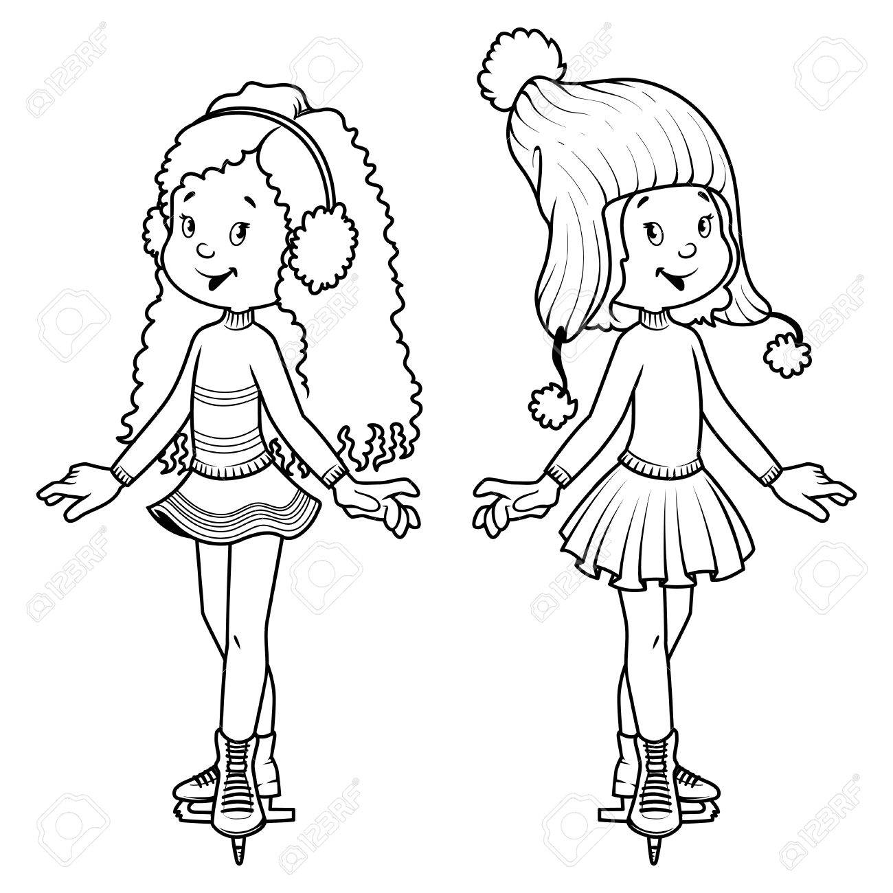 Two cute girls on skates. clip-art illustration. Coloring book
