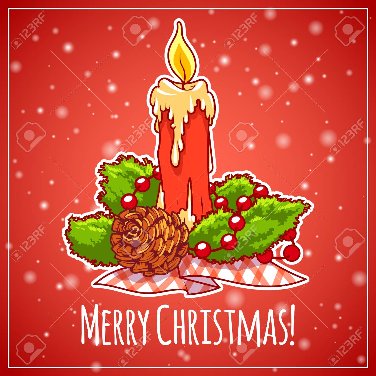 Christmas Card In Red Tones Christmas Candle On Red Background