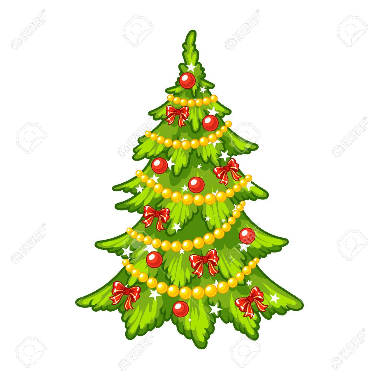 Christmas Trees Background Clipart.Decorated Christmas Tree Clip Art Illustration On A White Background