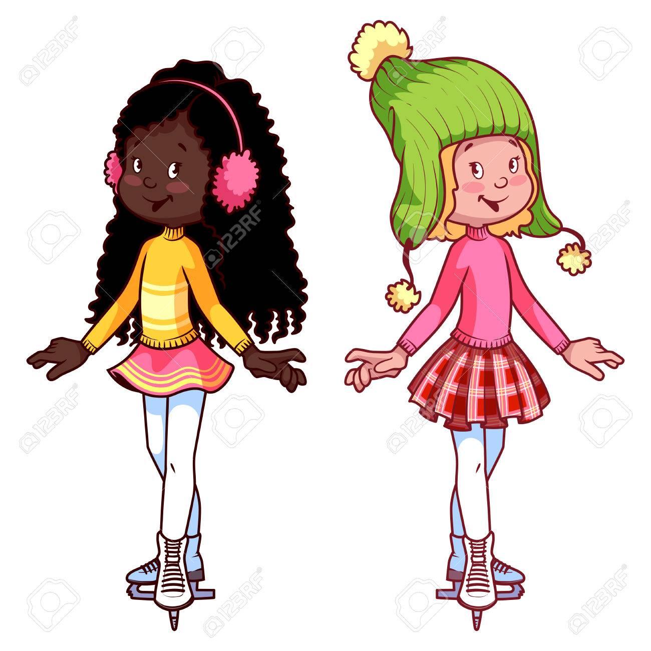スケートの上の 2 つのかわいい女の子クリップ アート イラストの