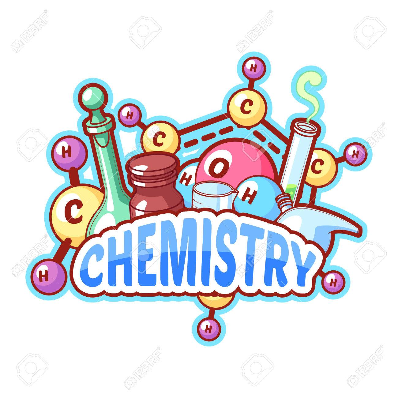 Chemistry title with chemical elements and flasks on a white background for poster design. Vector clipart illustration - 48104202