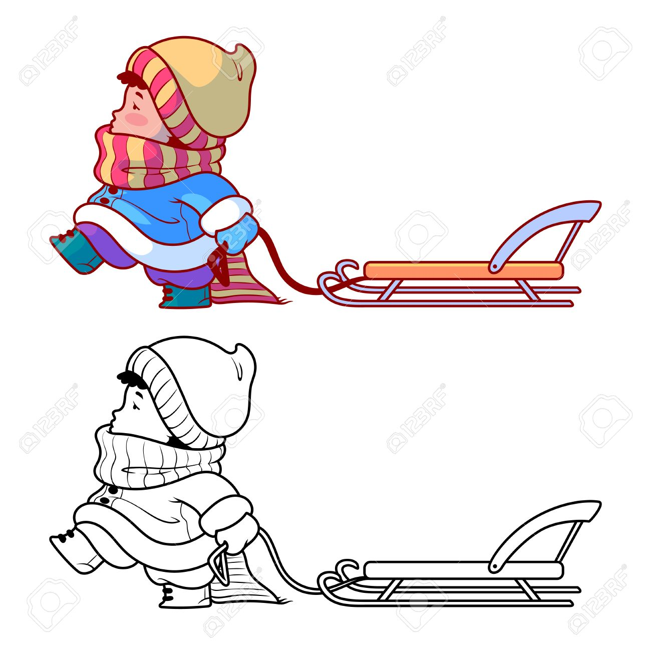 Kid Walking With A Sled. Winter Holiday. Cute Cartoon Character ...