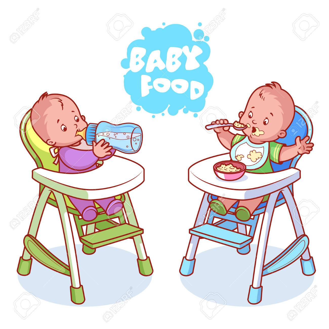 Two Kids In Baby Highchair. Vector Clip Art Illustration On A White  Background.