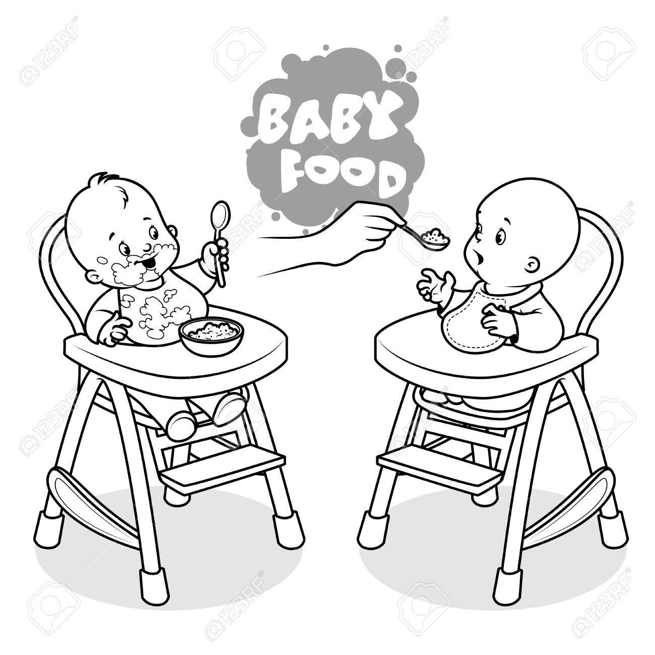 Illustration Deux Chaise Haute Sur Blanc Avec Enfants Clip De Art En Un Fond Bébé Assiette PorridgeVecteur qUpSzMGV