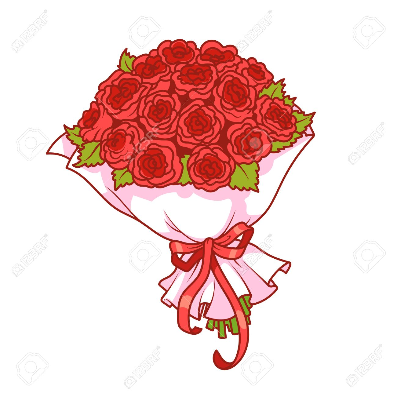bouquet of red roses isolated on white background vector clip art rh 123rf com wedding bouquet clipart flower bouquet clip art free