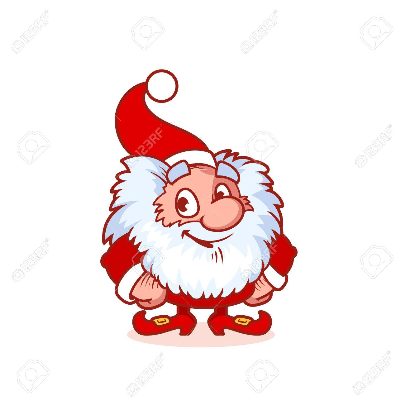 Christmas Gnomes Clipart.Smiling Christmas Gnome In Red Costume Funny Cartoon Character