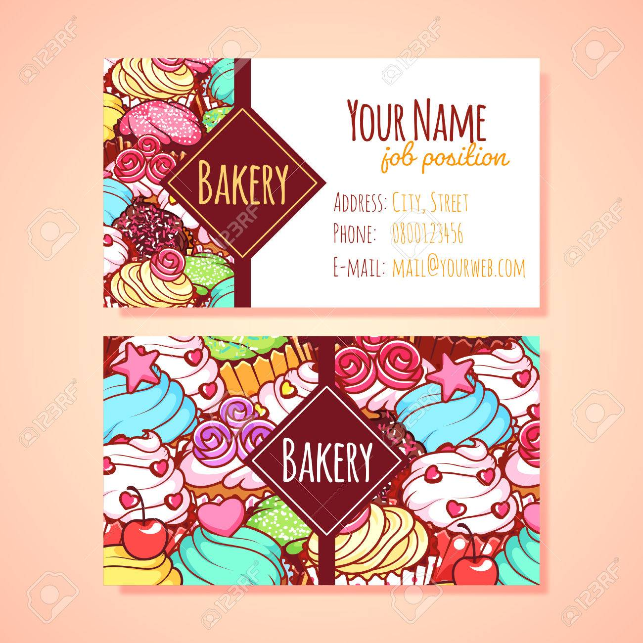 Two horizontal business card template for pastry shop clip art two horizontal business card template for pastry shop clip art illustration stock vector 49040285 reheart Choice Image