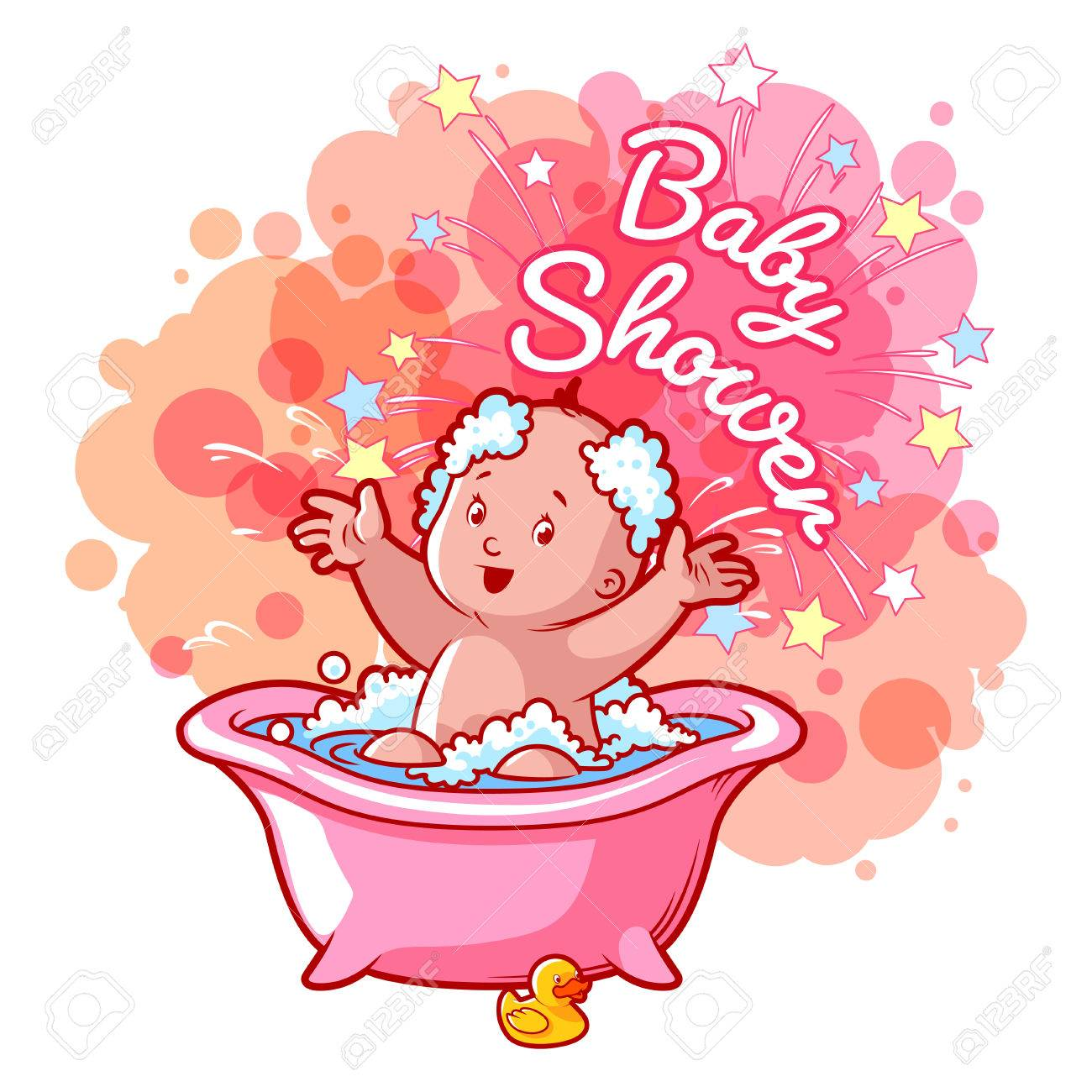 Baby Shower Card With Cute Baby Girl In Bath. Happy Toddler Splashing  Water. Vector