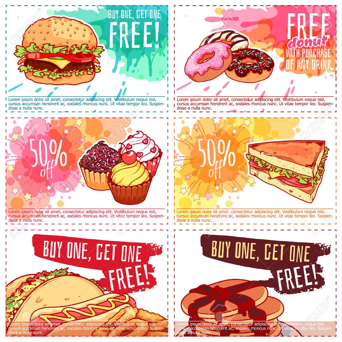 Six Different Discount Coupons For Fast Food Or Dessert Vector
